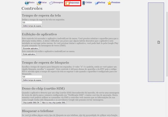 """No menu """"Segurança"""" há opções para atrapalhar o uso do aparelho ou deletar remotamente todas suas informações (Foto: Reprodução/Daniel Ribeiro)"""