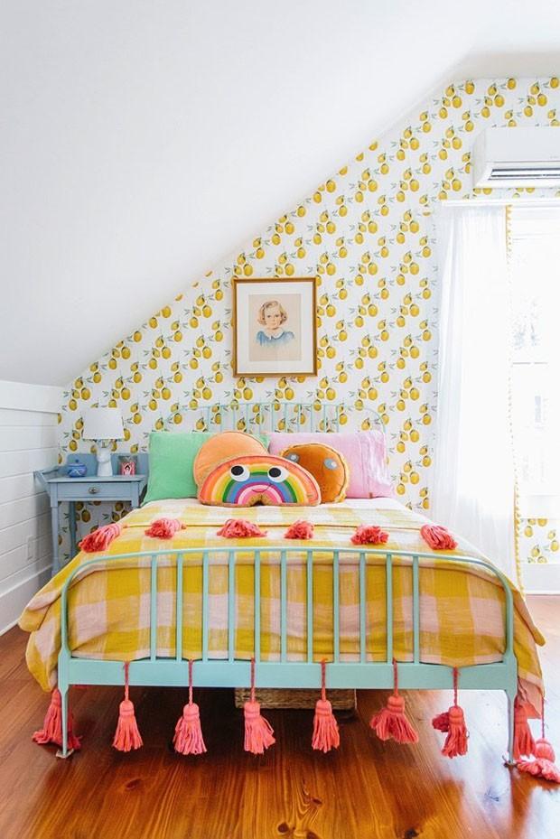 Décor do dia: quarto infantil com estampas amarelas (Foto: reprodução)