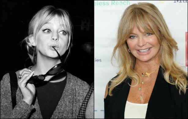 Goldie Hawn em janeiro de 1970, quando tinha 24 anos, e atualmente, com 68. (Foto: Getty Images)