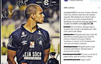 """Lucas Garcia anuncia saída do Remo: """"Vou embora de cabeça erguida"""""""