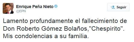 Enrique Peña Nieto, comenta morte de chaves (Foto: Reprodução / Twitter)