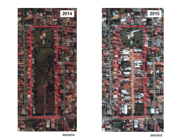 Imagens de satélite progressão de ocupações ilegais no Vicente Pires, no DF (Foto: MPDFT/Divulgação)