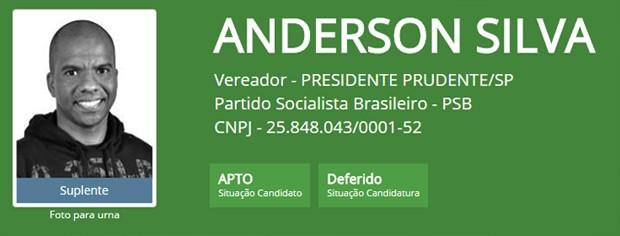 Anderson Silva (PSB) (Foto: Reprodução/Tribunal Superior Eleitoral)