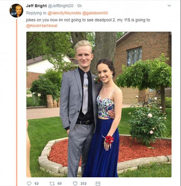 O ex-namorado irritado com a solidariedade prestada por Ryan Reynolds à sua ex (Foto: Twitter)