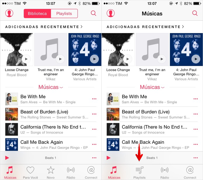 Atalhos do Apple Music são removidos do app de músicas (Foto: Reprodução/Helito Bijora)