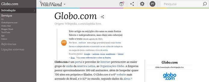 Extensões para Wikipedia podem alterar visual do site (Foto: Reprodução/Raquel Freire)