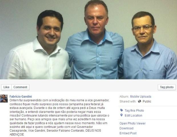 Gandini anunciou indicação em página oficial no Facebook (Foto: Reprodução/ Facebook)