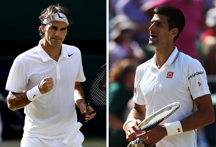 29c702b56b MONTAGEM - Roger Federer e djokovic Wimbledon (Foto  Agência Reuters)