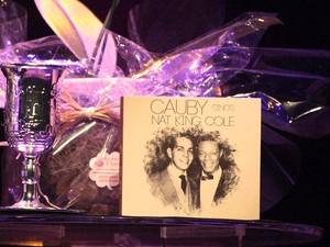 Detalhe da taça de prata e o CD de Cauby Peixoto em homenagem a Nat King Cole (Foto: Isac Luz/EGO)