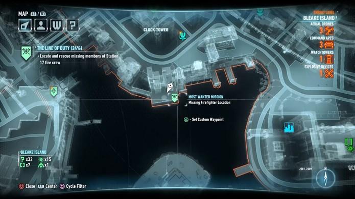 Localização no mapa do quinto bombeiro (Foto: Reprodução/André Mello)