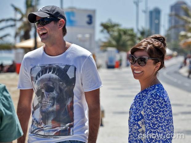 Giovanna Antonelli e Leonardo Nogueira gravam juntos a novela 'Em Família' (Foto: Inácio Moraes/ TV Globo)