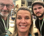 Mariana Becker encontrou os protagonistas de 'Game of thrones' Liam Cunnhingham e Kit Harington | Arquivo pessoal