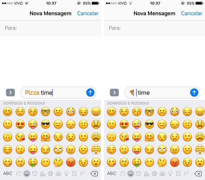 O iMessage consegue reconhecer quando uma palavra tem um emoji correspondente (Foto: Reprodução)