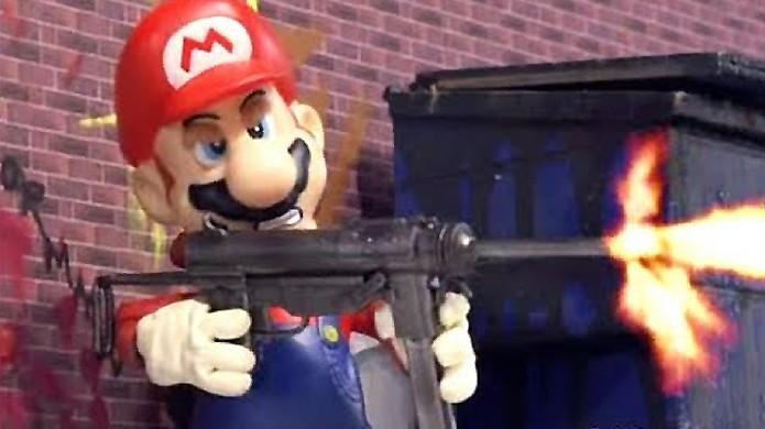 Mario poderia ter sido um personagem muito diferente com uma mochila a jato e um rifle (Foto: Reprodução/YouTube)