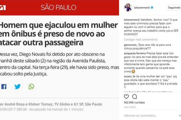 Tatá Werneck faz post após novo abuso sexual de Diego Novais (Foto: Reprodução/Instagram)