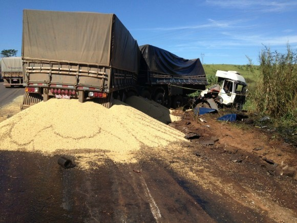 Depois de desviar, caminhão foi atingido por carreta com soja trafegando no sentido oposto da rodovia, segundo a polícia. (Foto: Agora MT)