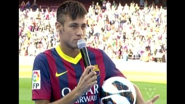 Neymar no Barcelona (Foto: Reprodução/TV Tribuna)