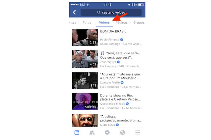 Visualizando vídeos relacionados a uma pessoa na busca sugerido do Facebook para iPhone (Foto: Reprodução/Marvin Costa)