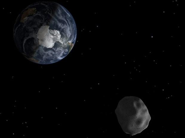 Ilustração do asteroide 2012 DA14, que passa perto da Terra nesta sexta (15) (Foto: Nasa/JPL-Caltech)