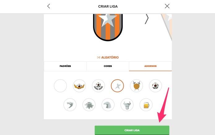 Escolha o escudo da sua liga e crie-a (Foto  Reprodução Lucas cd1f79a84fbc2