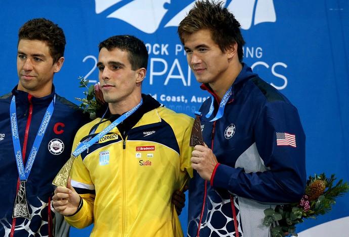 Anthony Ervin, Bruno Fratus e Nathan Adrian pódio natação (Foto: Satiro Sodré / Divulgação CBDA)