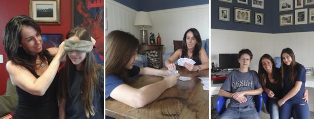 Montagem mãe e filha brincando de cabra cega (Foto: Montagem sobre fotos/ Paula Menezes/ G1)