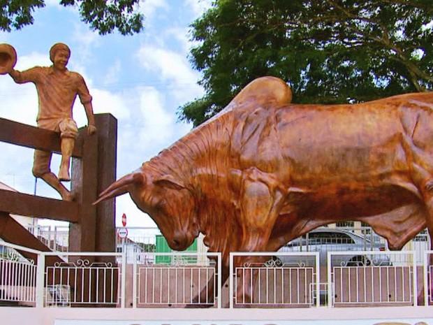 Após polêmicas, estátua 'Boi sem coração' agrada em Ouro Fino, MG (Foto: Reprodução EPTV)