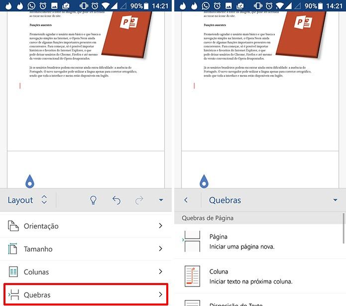 Usuário pode usar quebras para começar página nova ou coluna Foto: Reprodução/Elson de Souza)