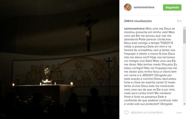 Ex-BBB Adriana fala pela primeira vez sobre o assalto a mão armada (Foto: Reprodução / Instagram)