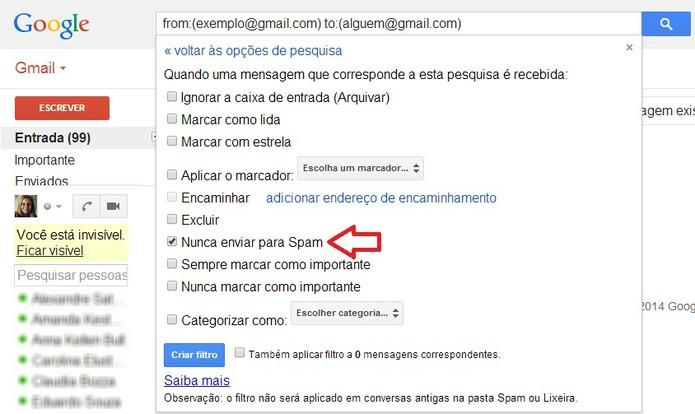 Criação de filtro no Gmail para receber e-mail direto na caixa de entrada  (Foto: Foto: Reprodução:/ Marcela Vaz)