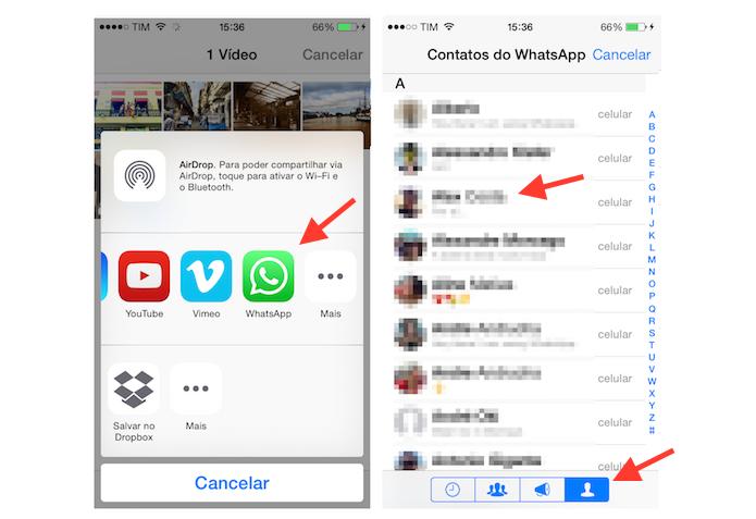 Escolhendo o amigo do WhatsApp que vai enviar um vídeo através da ferramenta de compartilhamento do iPhone (Foto: Reprodução/Marvin Costa)