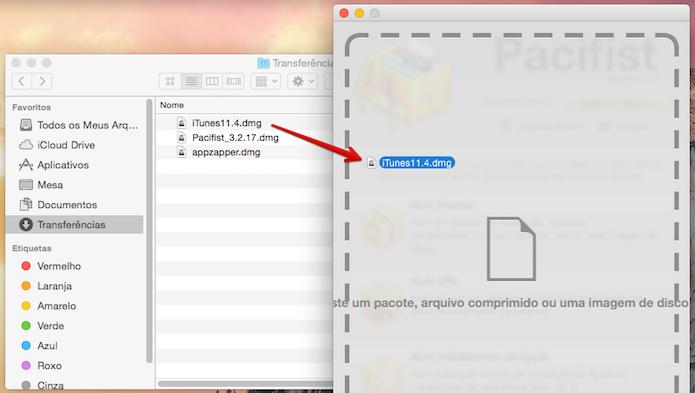 Arraste o arquivo de instalação do iTunes 11 para a janela do app (Foto: Reprodução/Helito Bijora)