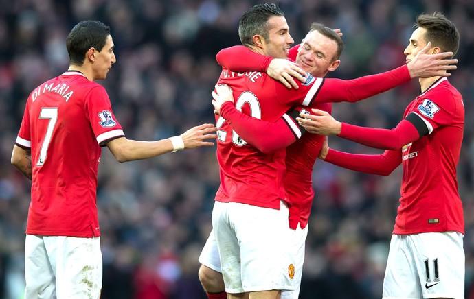 Van Persie comemora gol do Manchester United contra o Leicester (Foto: Agência AP )