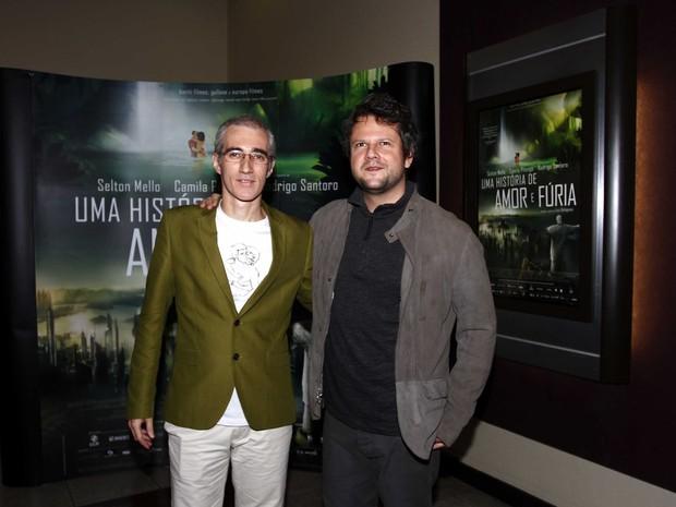 Selton Mello e o diretor Luiz Bolognesi em pré-estreia de filme em São Paulo (Foto: Paduardo/ Ag. News)