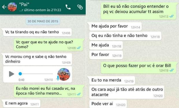 Bill Botafogo e Sabrina ex-mulher conversa whatsapp (Foto: Reprodução/ Arquivo Pessoal)