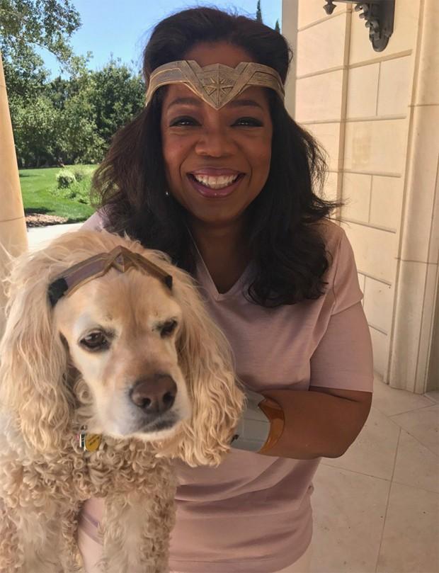 Oprah Winfrey e sua cachorrinha Sadie (Foto: Reprodução/Twitter)