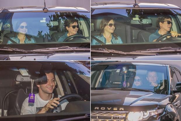 Noely e Xororó, Lucas Lima e Sandy deixando a maternidade (Foto: Higson Miranda / Foto Rio News)