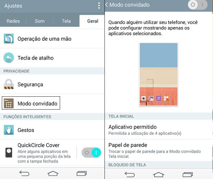 O recurso Modo Convidade restringe os aplicativos que estarão disponíveis para serem usados no LG G3 (Foto: Reprodução/Lucas Mendes)
