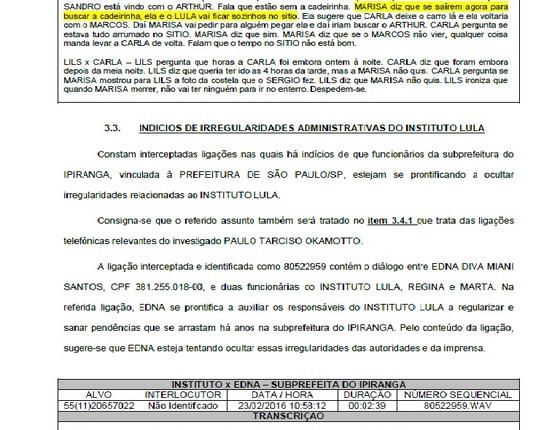 Relatório da PF aponta investigação de reforma do Instituto Lula (Foto: Reprodução)