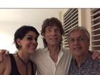 Caetano Veloso posa ao lado de Mick Jagger: 'Noite de cantoria'