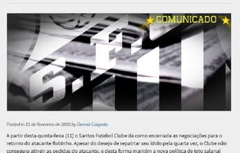 Em comunicado, Santos anuncia fim das negociações com Robinho