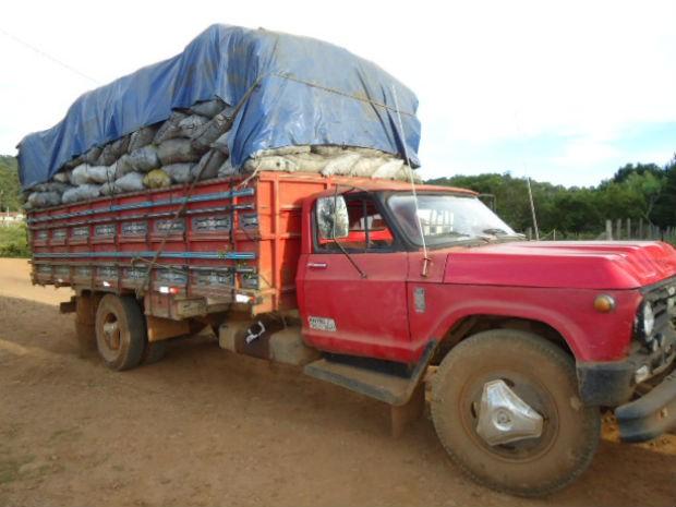Caminhão de carvão também estava sem o Documento de Origem Florestal e foi apreendido (Foto: Divulgação/Polícia Ambiental de Guarapuava)