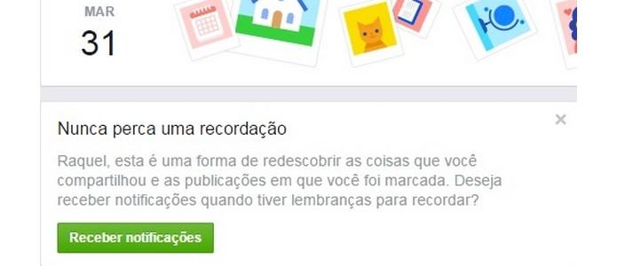 Usuário pode receber notificações diárias sobre posts antigos (Foto: Reprodução/Raquel Freire)