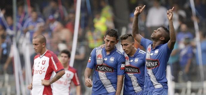 Comemoração Emelec x Universidad de Chile Libertadores (Foto: AP)