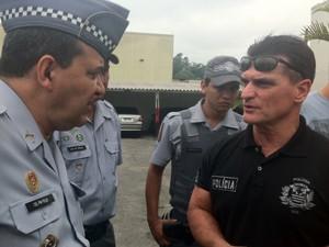 Coronel Audi Felix da PM e Delegado da Seccional Norte, Cosmo (Foto: Fabiano Correia/G1)