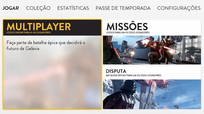 Novo modo Disputa de Star Wars Battlefront surge no menu após a atualização (Foto: Reprodução/Rafael Monteiro)