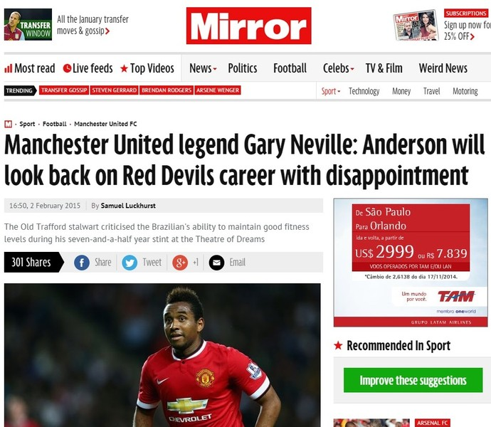 Anderson Daily Mail Gary Neville Manchester United Inter (Foto: Reprodução)