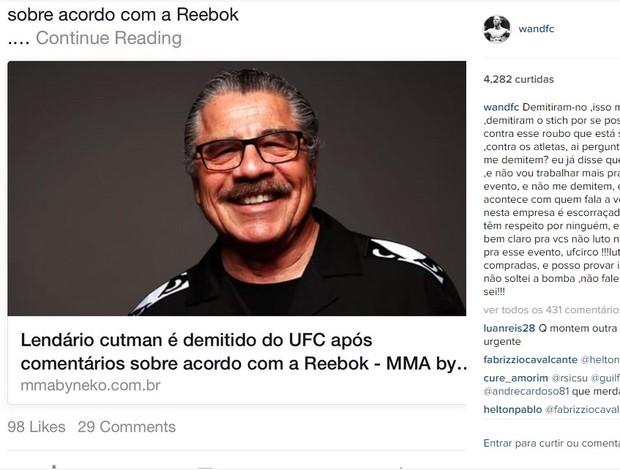 Wanderlei Silva protesta contra demissão de Stitch do UFC