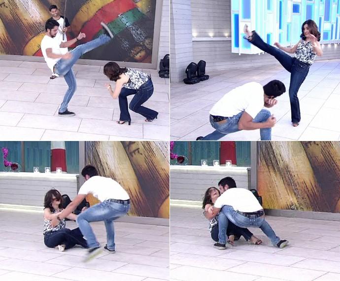 Fátima ri ao cair no 'Encontro' (Foto: TV Globo)