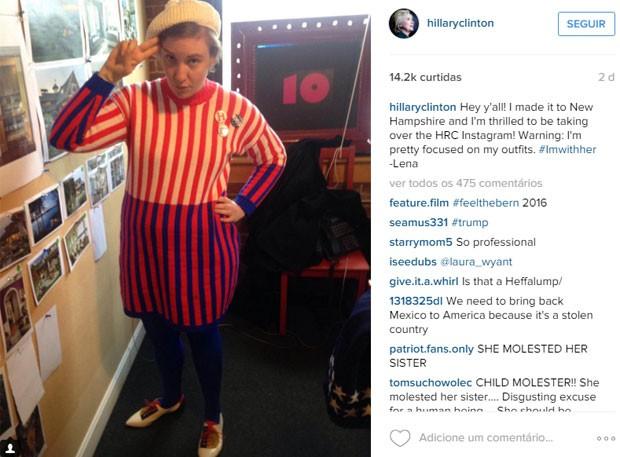 """A atriz norte-americana Lena Dunham, criadora e estrela da série """"Girls"""", assumiu no fim da semana passada a conta no Instagram de Hillary Clinton, pré-candidata democrata à presidência dos EUA (Foto: Reprodução/Instagram/hillaryclinton)"""